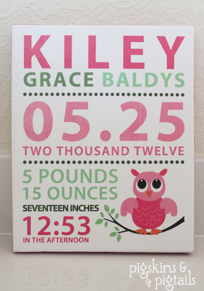 Baby Information Art Canvas information on Pinterest