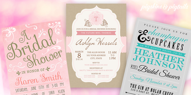 3 Pretty Bridal Shower Invitations Pigskins Pigtails – How to Address Wedding Shower Invitations