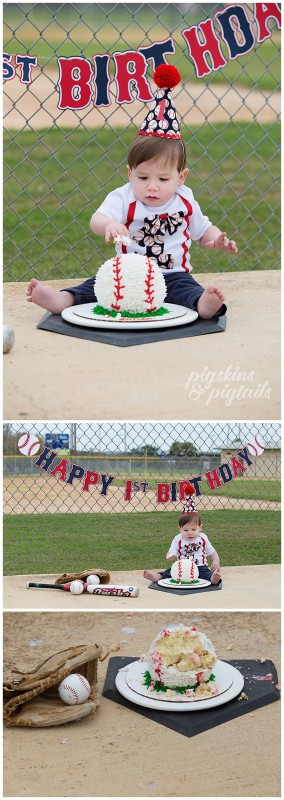 Baseball Theme Cake Smash Pigskins Pigtails