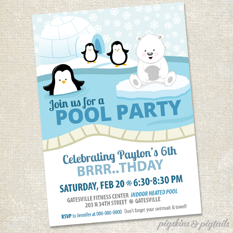 Polar Bears & Penguins Winter Pool Party - Pigskins & Pigtails