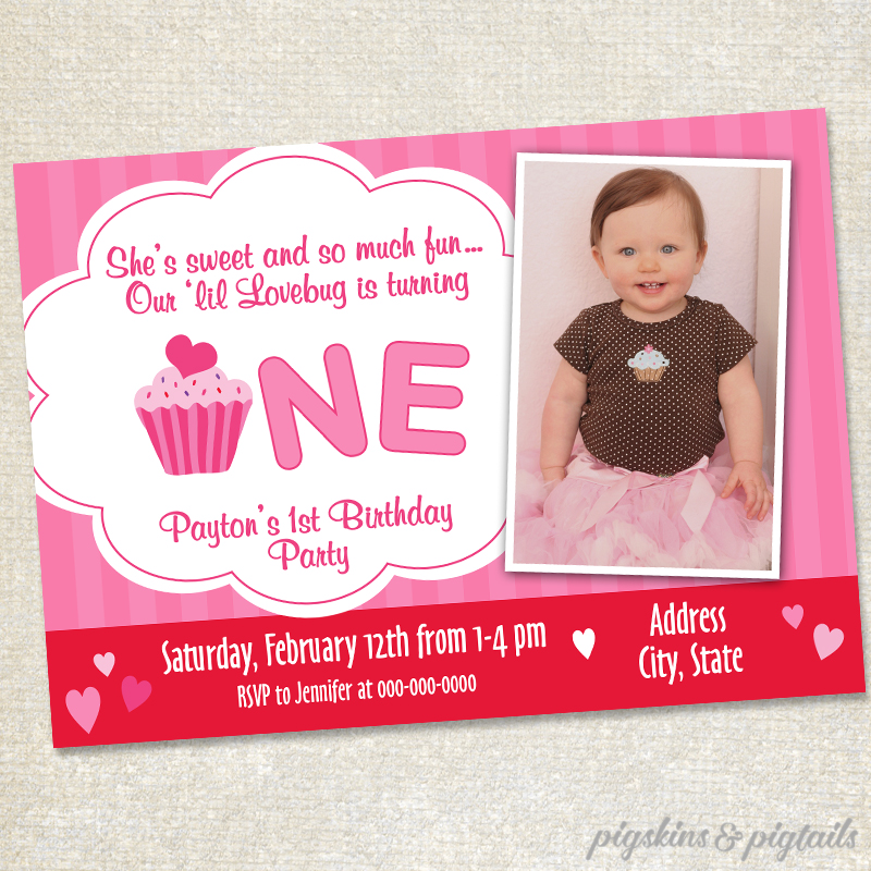 Sample Invitation For First Birthday Party. Hearts First Birthday Invitation  Pigskins Pigtails