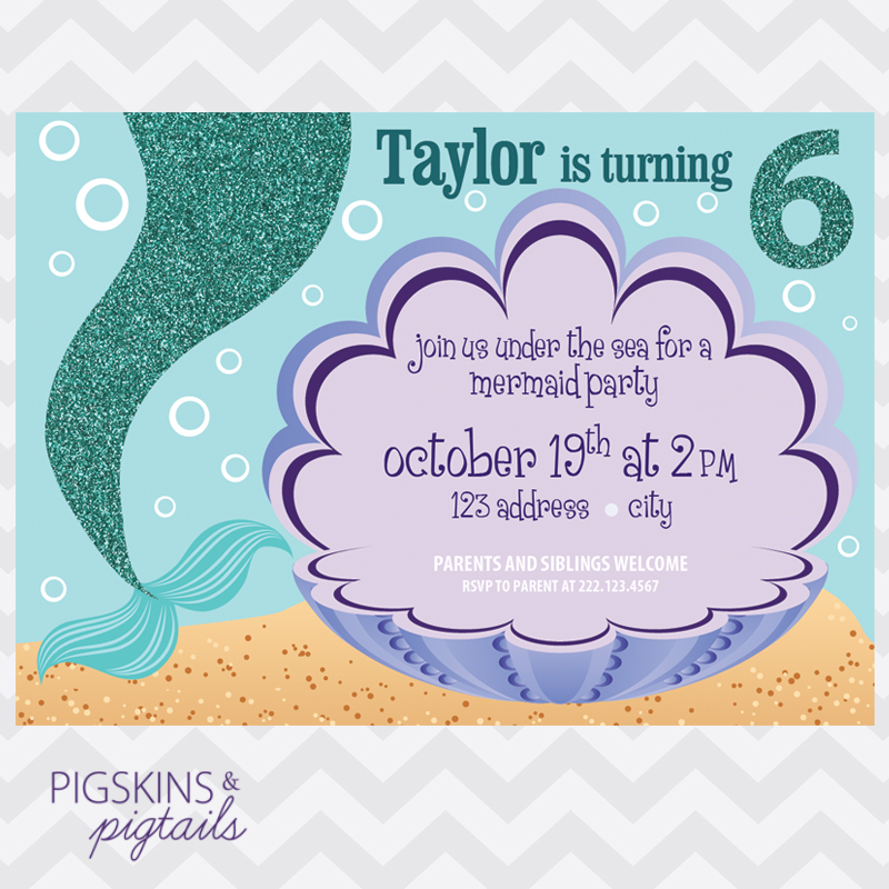 Mermaid birthday party invitation pigskins pigtails mermaid birthday party invitation stopboris Choice Image
