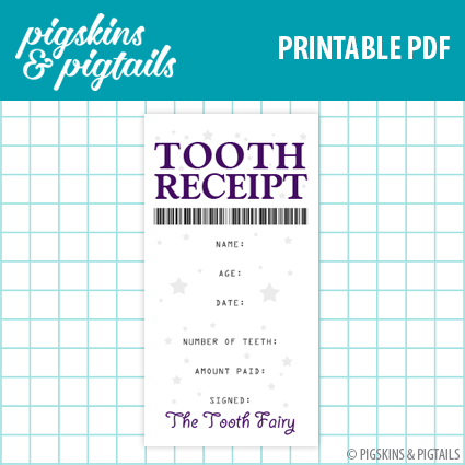 photograph about Tooth Fairy Printable named Enamel Fairy Receipt