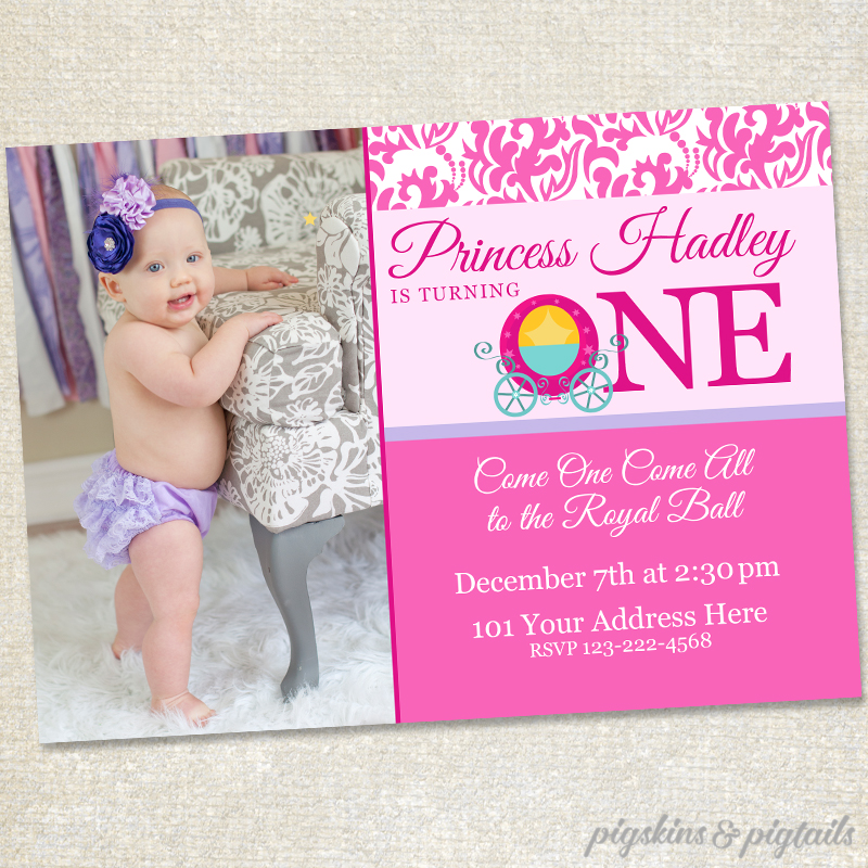 Princess First Birthday Invitations Pigskins Pigtails