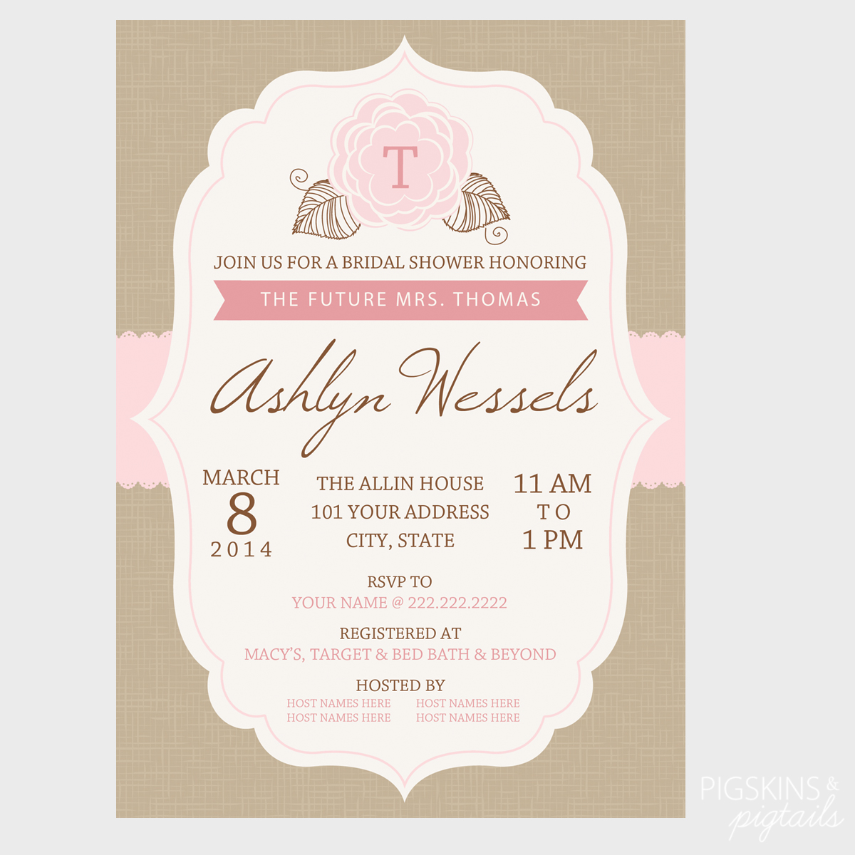 Bridal shower invitation pigskins pigtails for Invitations for wedding shower