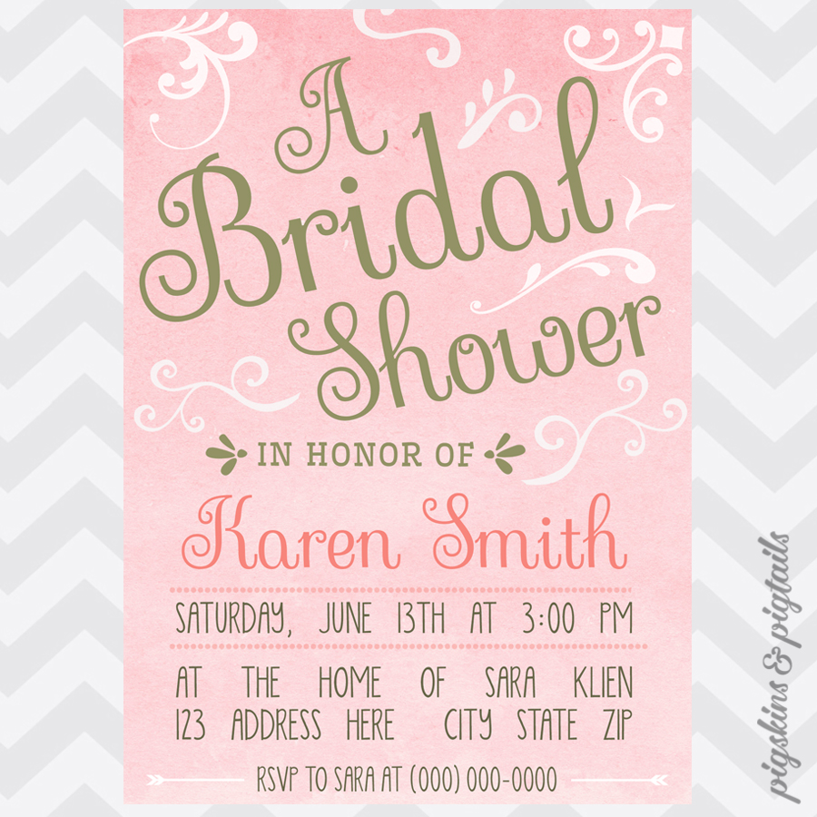 Pink Gold Bridal Shower Invitation Pigskins Pigtails