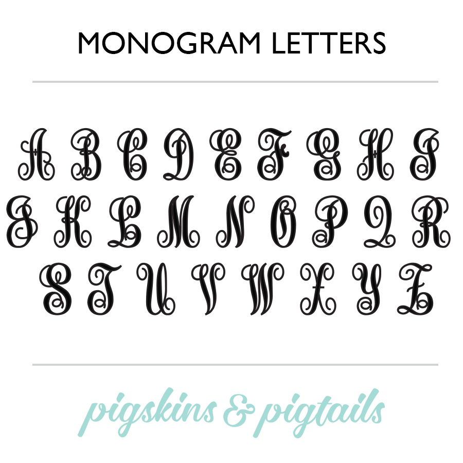 script monogram decal pigskins pigtails