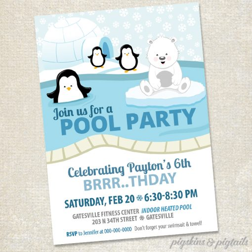 Polar Bears And Penguins Birthday Invitation