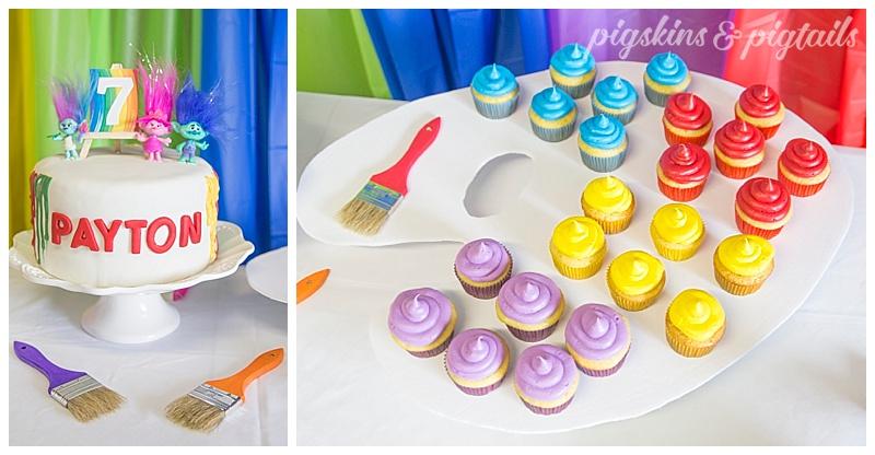Trolls Painting Rainbow Cake