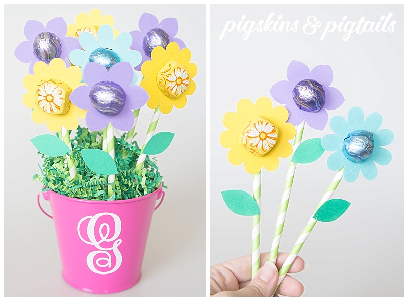 Teacher Appreciation Paper Flower Bucket with Chocolate