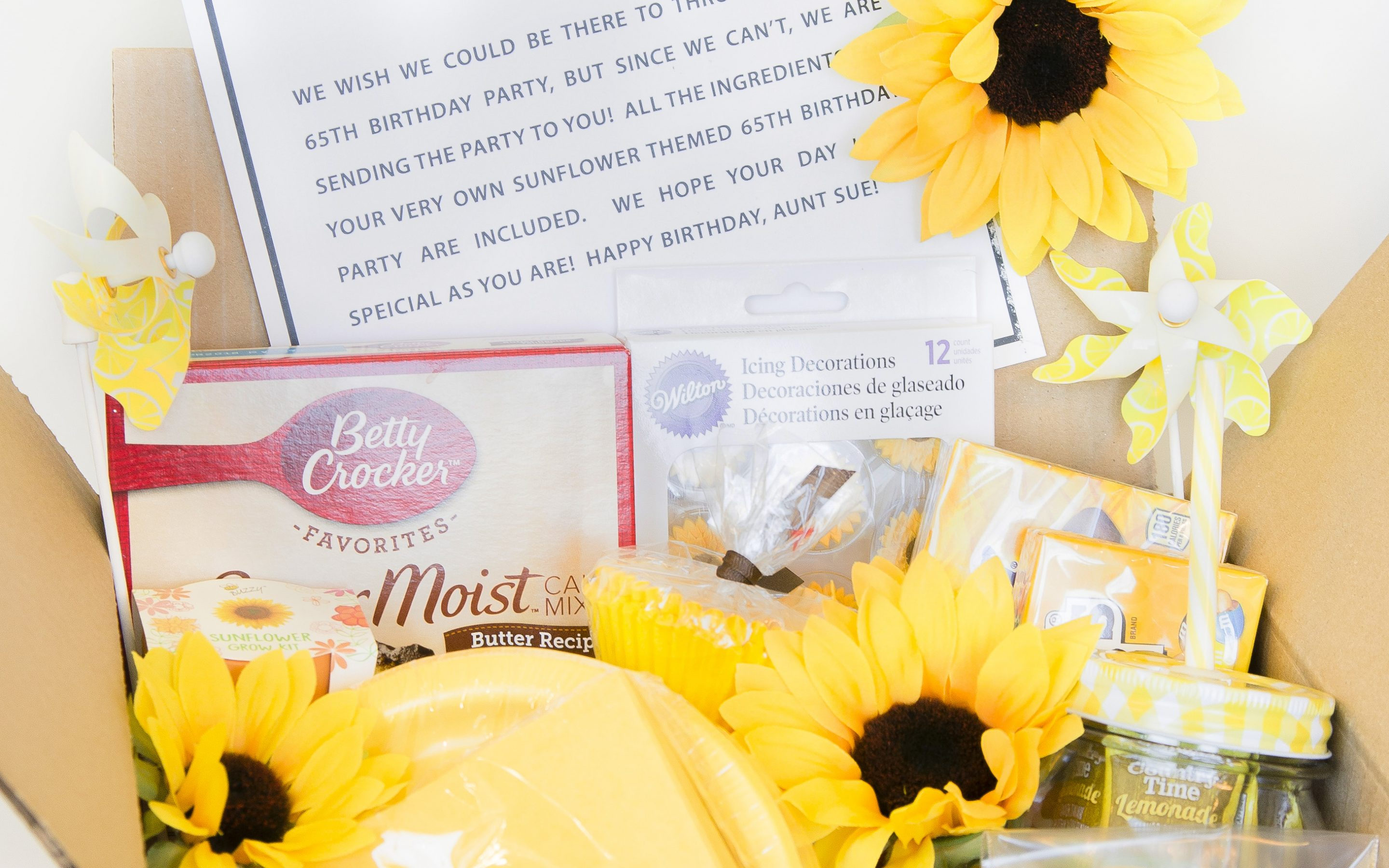 Party in a Box Sunflower Gift Idea