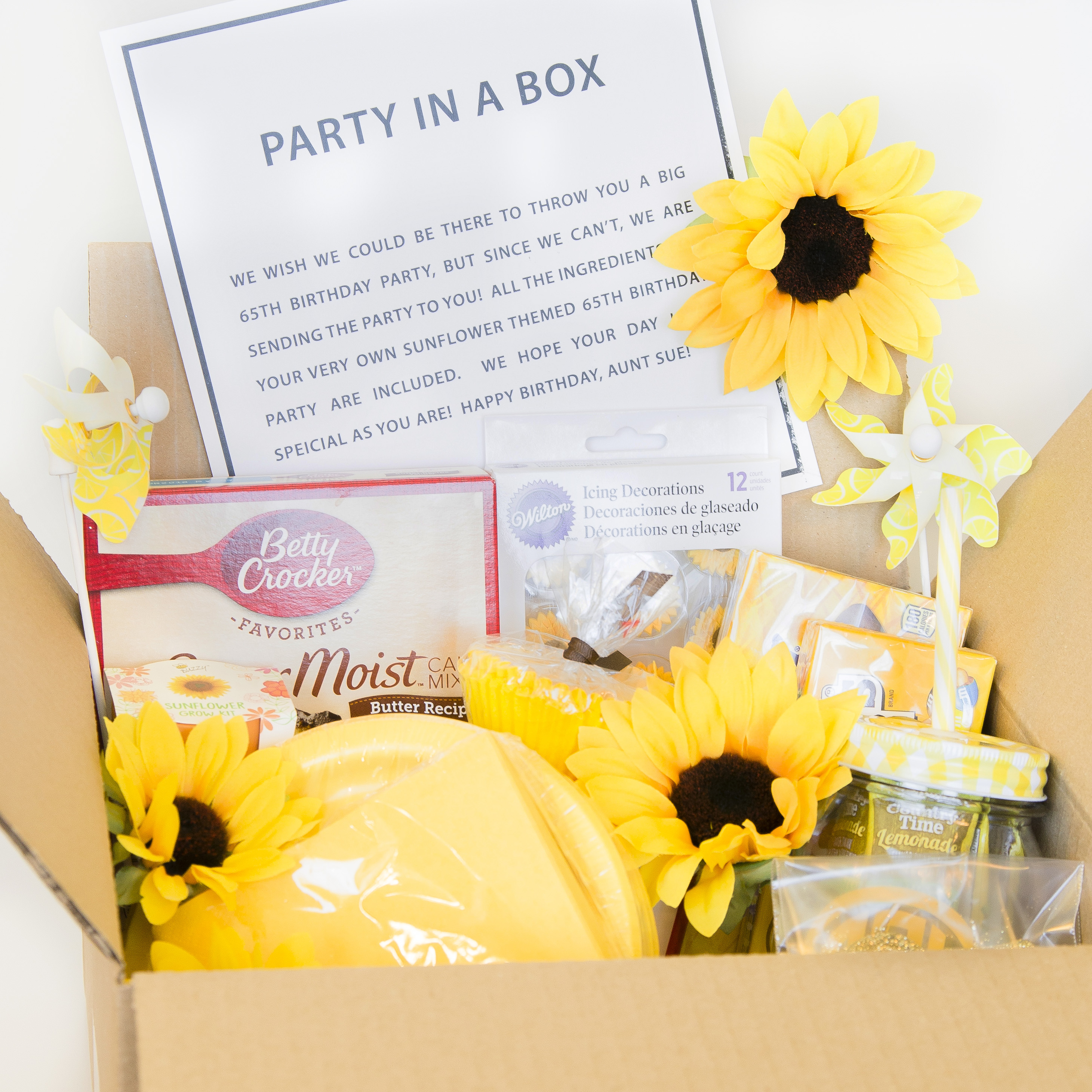 Party In A Box Sunflower Gift Idea Pigskins Pigtails