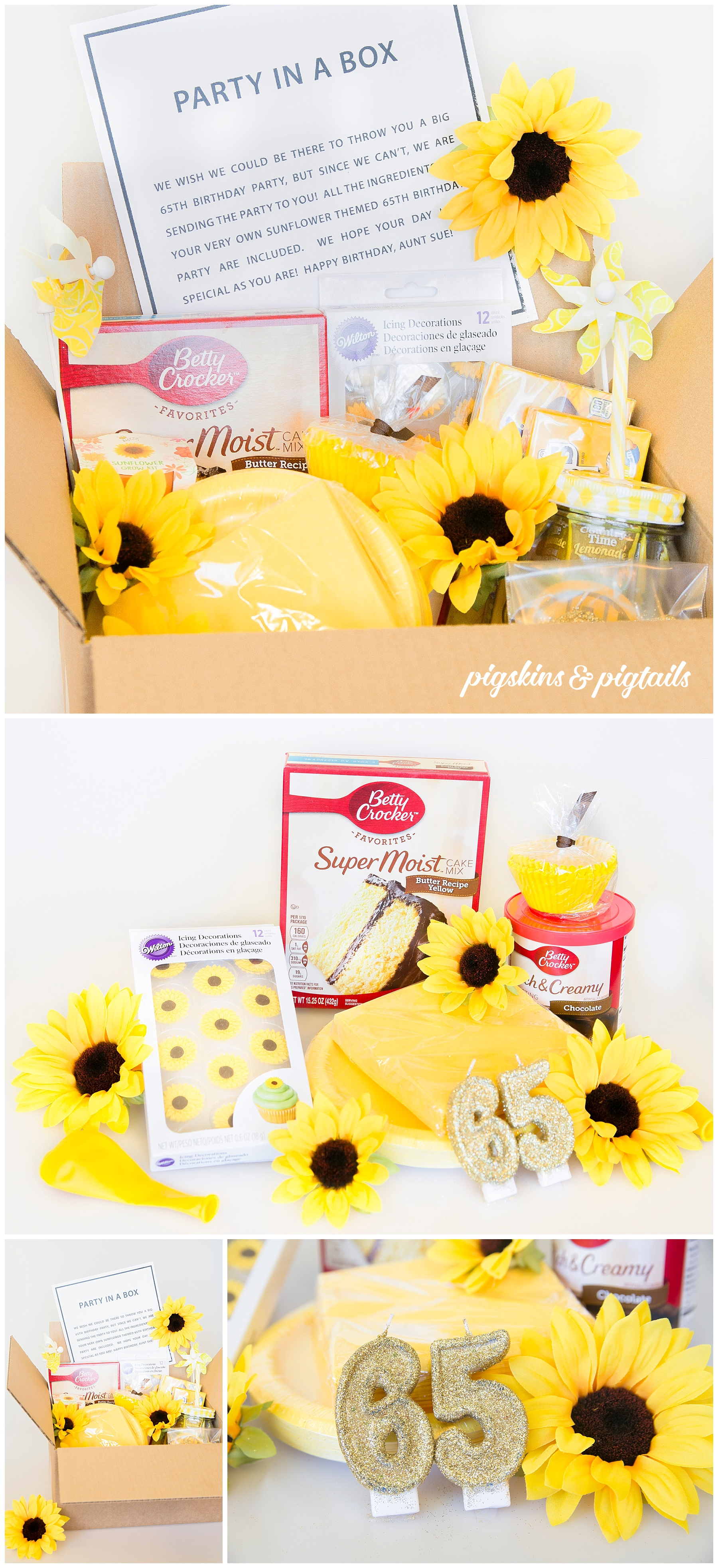 Sunflower Party in a Box 65th Birthday