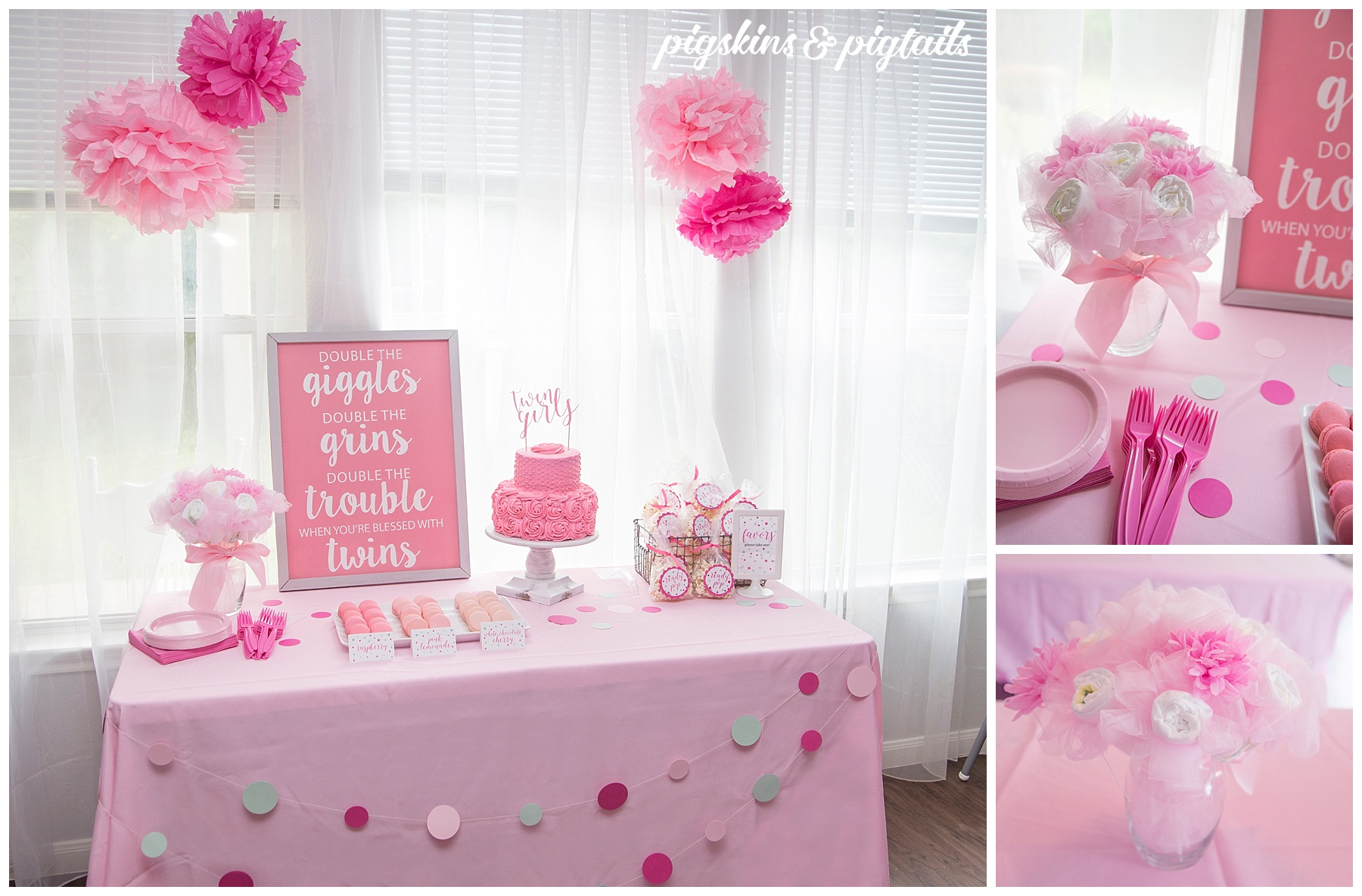 Twin Girls Baby Shower Pink Theme