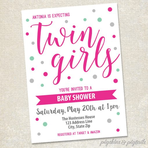 Twin S Baby Shower Invitation