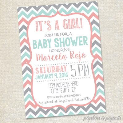 Girl Baby Shower Invitation Printable Chevron Pink Grey Mint