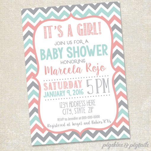 Girl Baby Shower Invitation Printable Chevron Pink Grey Mint