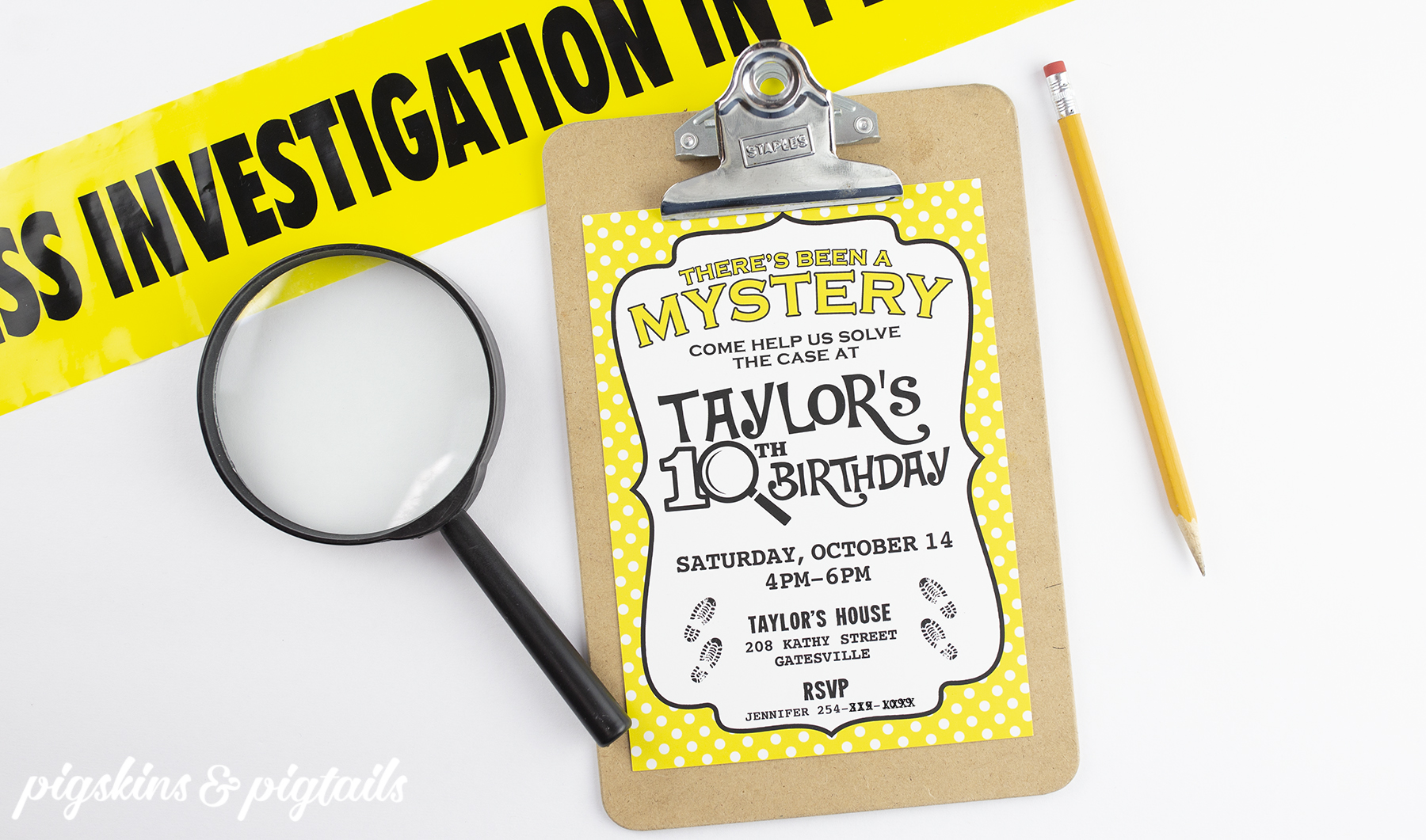 Mystery Party Nancy Drew Birthday Invitation Printable