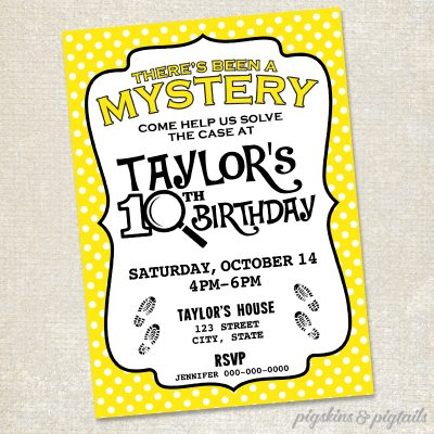 Nancy Drew Mystery Birthday Party Invitation Printable