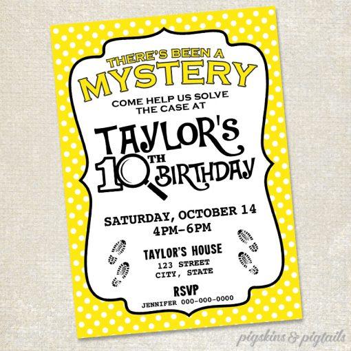 Nancy Drew Mystery Birthday Party Invitation Printable