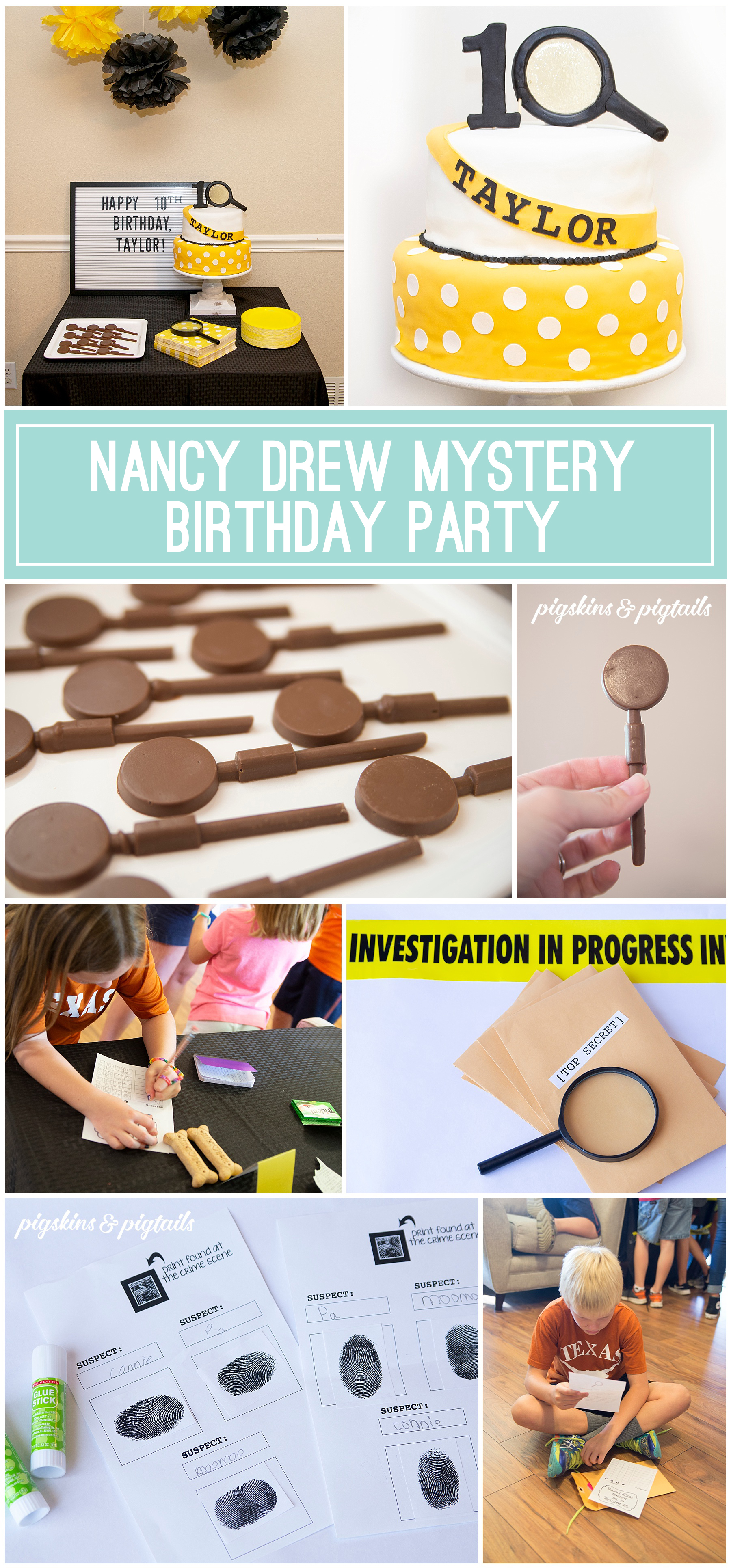 Nancy Drew Birthday Party Mystery Game and Cake