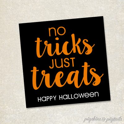 No Tricks All Treats Halloween Printable Tag Easy Gift