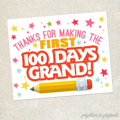 graphic relating to 100 Days Printable titled 100 Times Grand Printable Tag