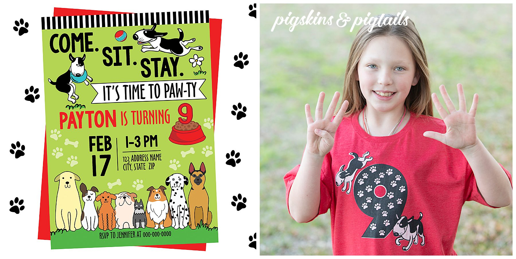 Dog Theme Birthday Party Invitation Printable and Shirt SVG