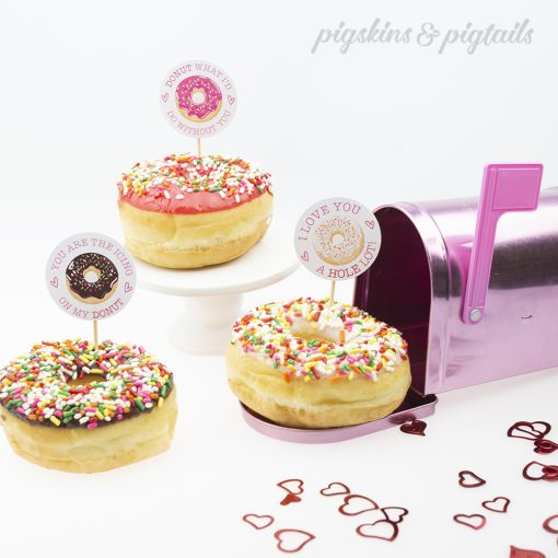 Printable Valentine's Day Donut Toppers