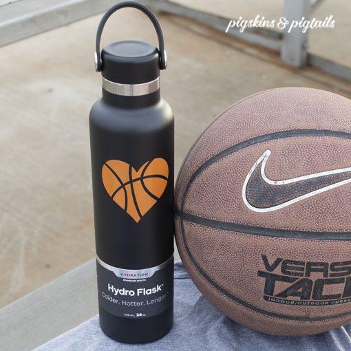 Basketball gift water bottle heart decal