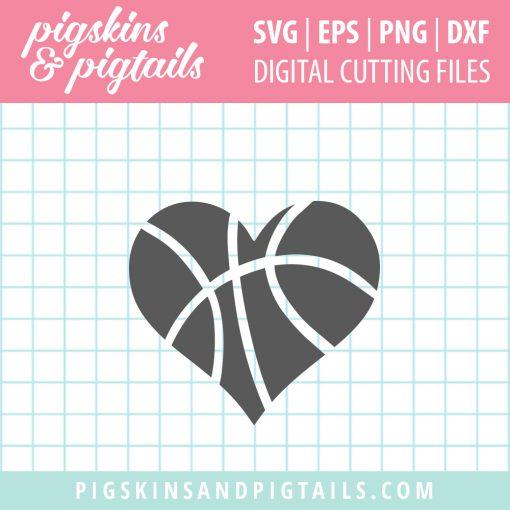 Basketball heart svg eps vector file