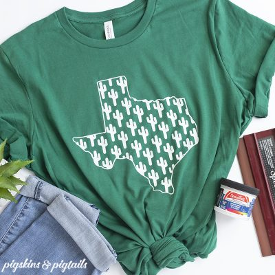 Texas Tshirt with Cactus Design