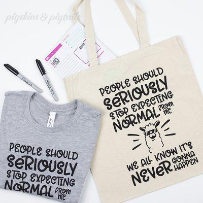 Llama t-shirt design funny tote bag