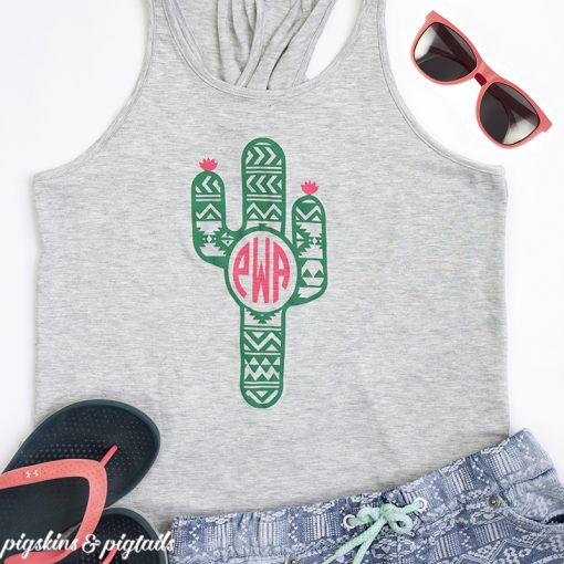 Cactus monogram t-shirt design idea for Cricut or silhouette