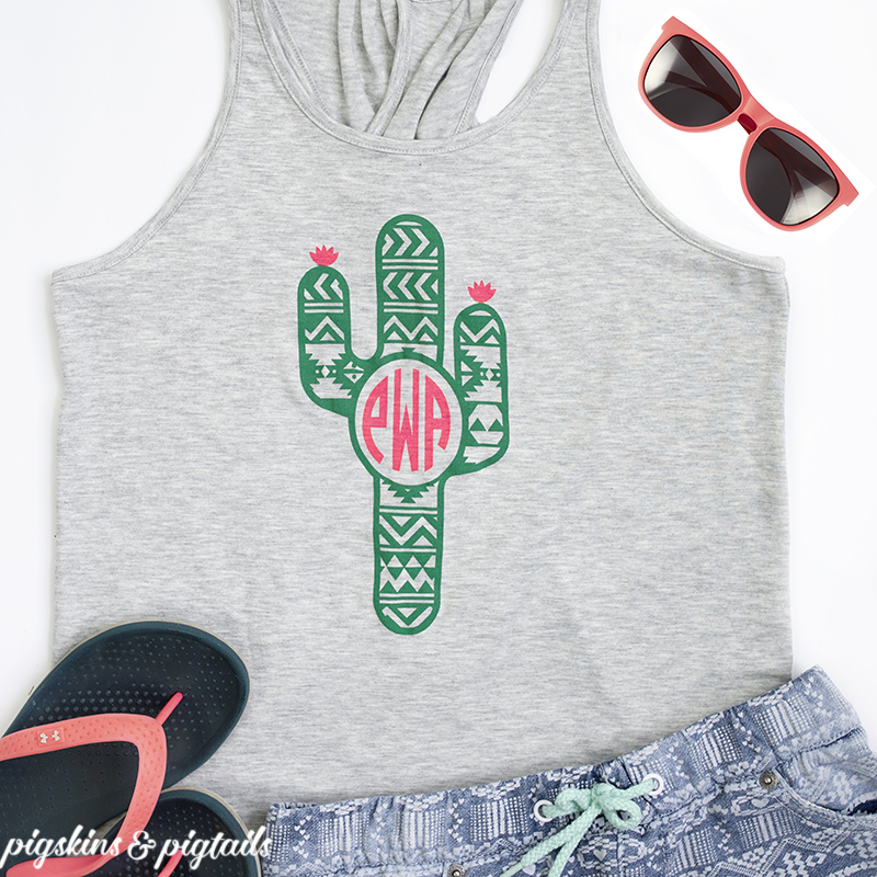 Cactus monogram t-shirt design idea for Cricut or silhouette