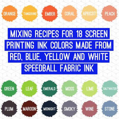 How to mix speedball fabric ink colors for screen printing