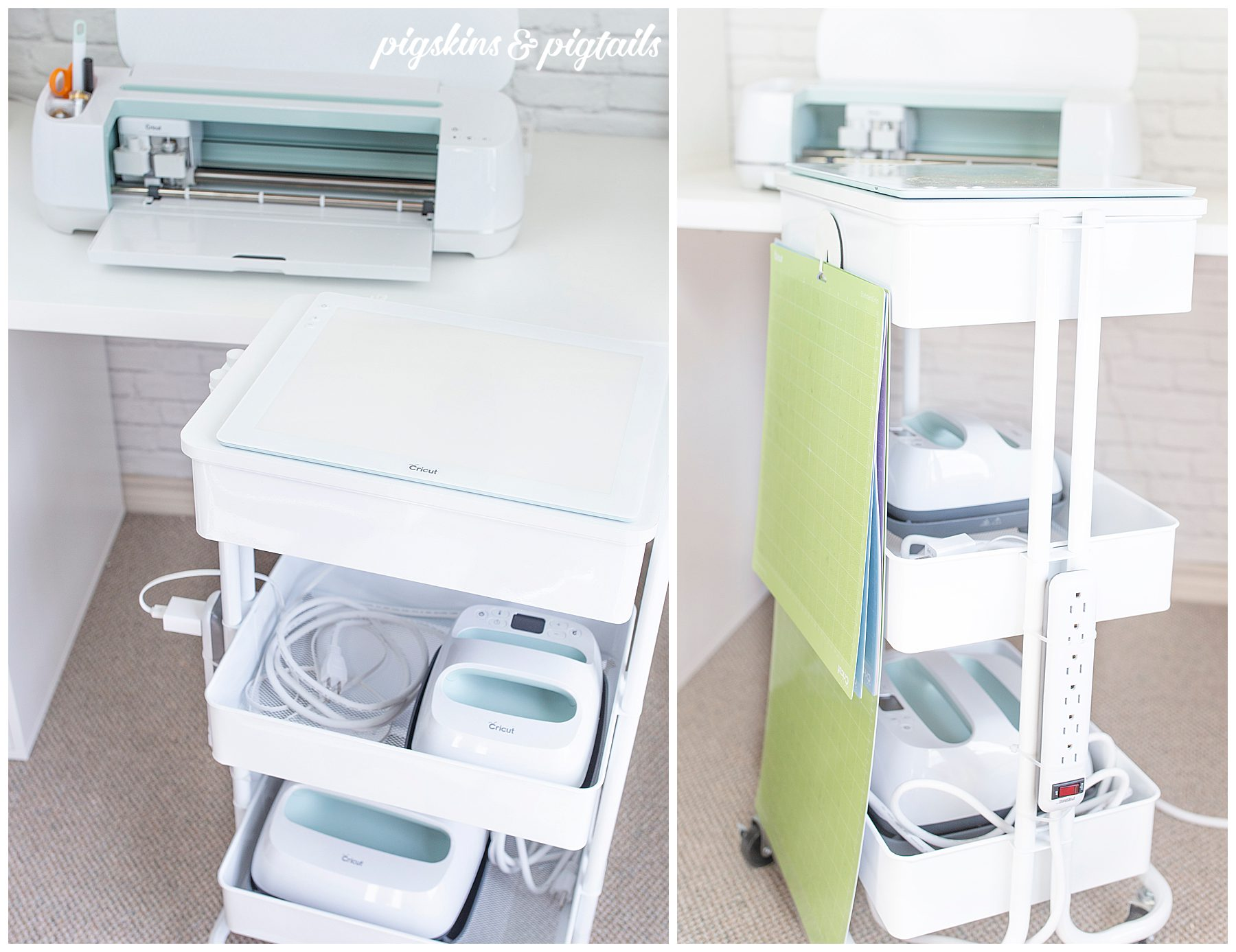 Cricut organization with rolling cart