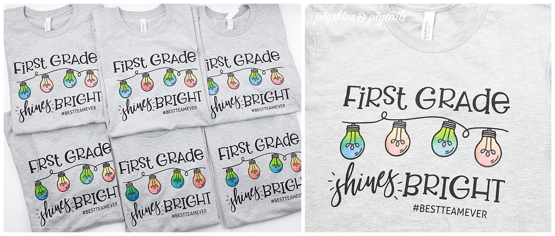 First grade team shirts shine bright light bulbs screen printing vinyl