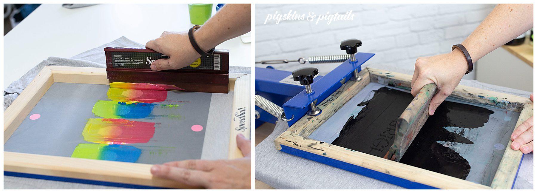 Multi-color designs diy screen printing with Cricut vinyl