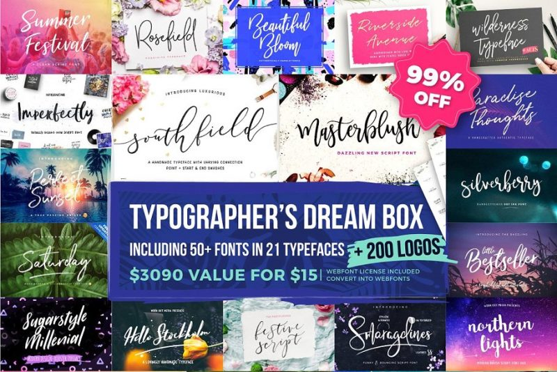 font collection script handwritten bundle