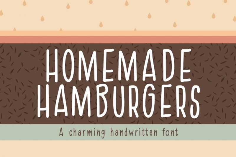 Homemade hamburger font uppercase handwritten font
