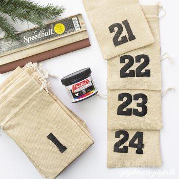 DIY Christmas Advent Bags using Vinyl for Screen Printing