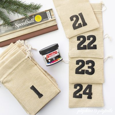 DIY Christmas Advent Bags using Vinyl for Screen Printing