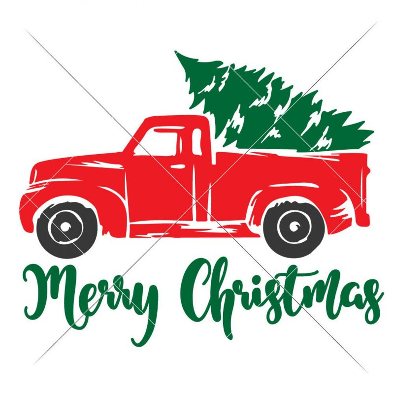 christmas red truck svg cut file tree