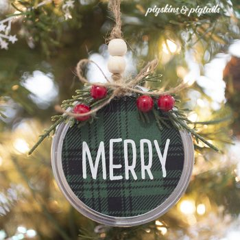 DIY Mason Jar Lid Christmas Ornaments with Screen Printing