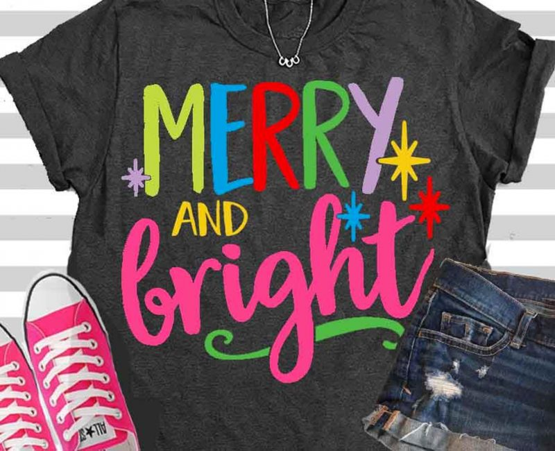 merry and bright svg etsy cut file