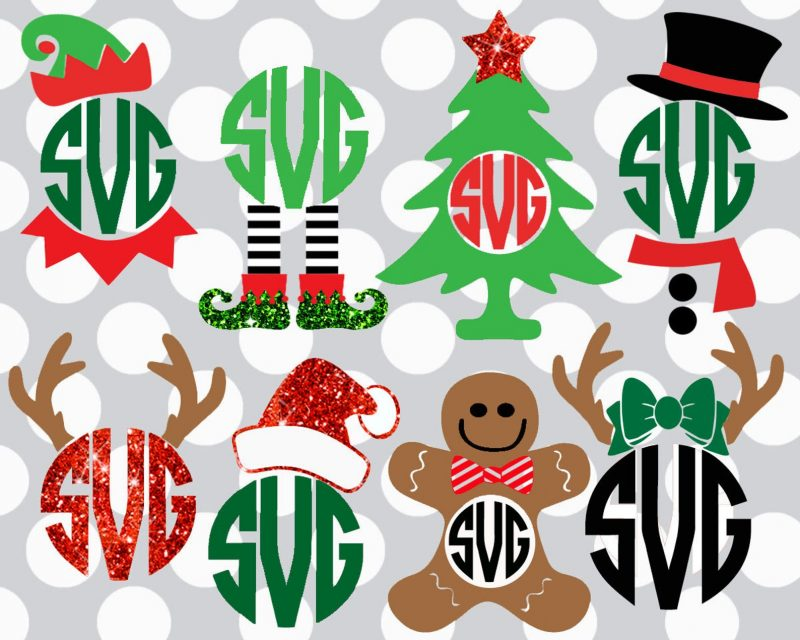 monogram christmas svg files santa reindeer cricut