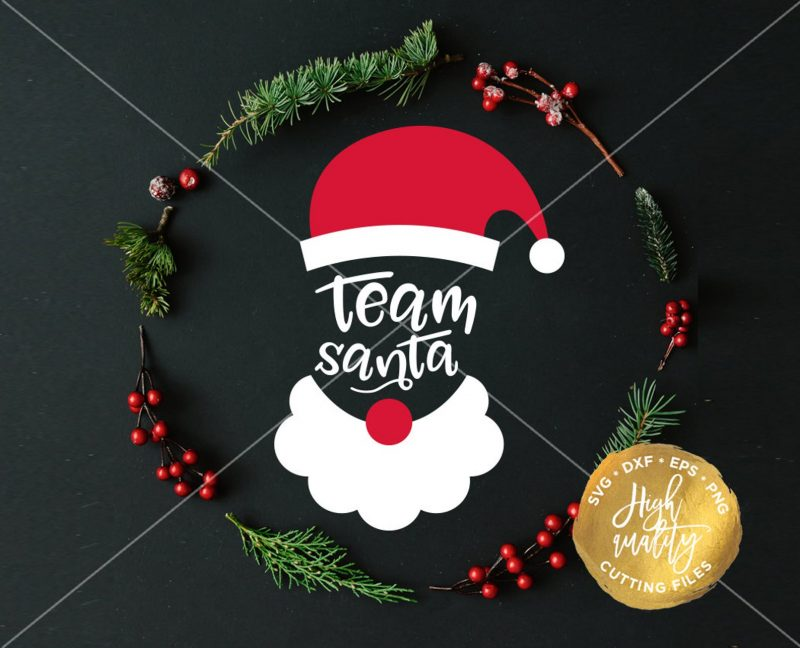 team santa cricut silhouette svg cut file etsy