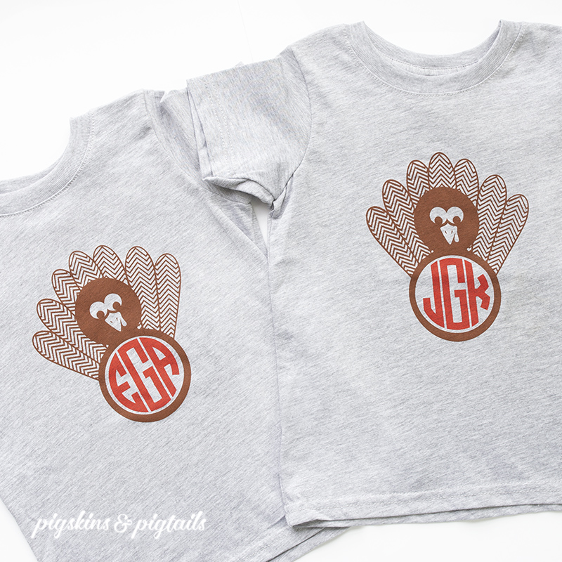 turkey monogram svg file thanksgiving