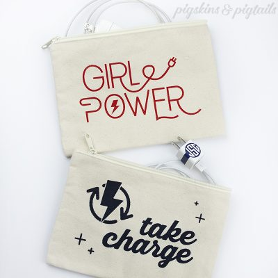 charger bags personalized girl power take charge svg